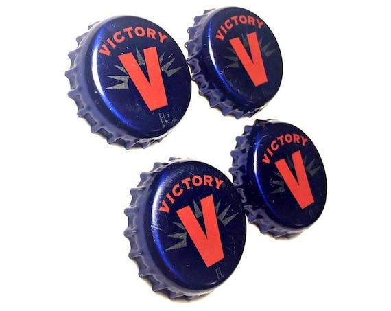 Beer Magnets, Bottle Cap Magnets, Victory Bottle Cap Magnets, Bar Magnet Set, Four Beer Bottle Magnets, Pitbull Magnets, Microbrew Magnets