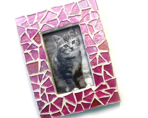 Baby Pink Mosaic Frame, Pink Glitter Frame, Small Pink Mosaic Frame, Petite Pink Glitter Frame, Nursery Frame, Babys Room Frame, Child Frame