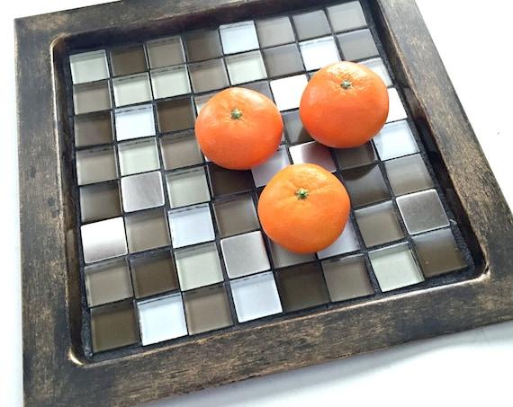 Bronze Mosaic Metal Tray, Brown Bronze Metal and Mosaic Tray, Handmade Mosaic Tray, Mosaic Brown Bronze Tray, Mosaic Candle Tray Stand,