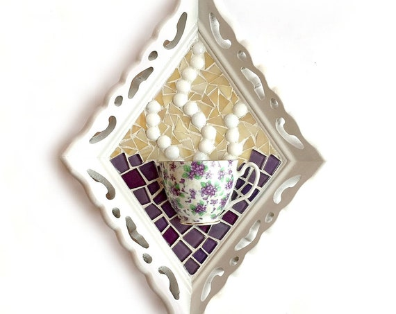 Mosaic TeaCup Art, Violet Flower Mosaic Coffee Cup Art, Framed Tea Coffee Mixed Media Art, Coffee Cup Art, Kitchen Teacup Art, Purple Violet
