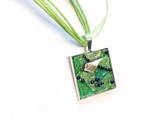 SALE Green Bird Pendant, Green Mosaic Bird Pendant on Organza Necklace, Lime Green Mosaic Pendant with Bird on Organza Ribbon, Bird Pendant