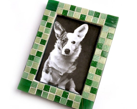Mosaic Picture Frame, Green Mosaic Frame, Rectangle Mosaic Frame, Green Frame, Glass Tile Mosaic Picture Frame, 3.5 x 5  Mosaic Frame