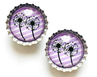 Dandelion Magnet Set, Dandelion Refrigerator Magnet Set, 2 Purple Dandelion Magnets, Lavender Dandelion Magnet Set of Two, 2 Ladybugs