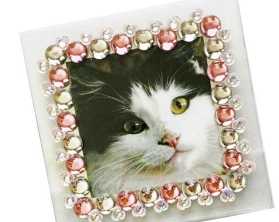 Pink Clear Glitter Girlie Frame, Pink Floral Frame, 4x4 Square Photo Frame, Pink Glam Frame, Iridescent Pink Embellished Picture Frame