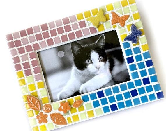 Butterflies Flowers Mosaic Frame, Pink Blue Yellow Mosaic Frame, Butterfly Mosaic Frame, Orange Pink Blue Yellow Flower 4x6 Mosaic Frame