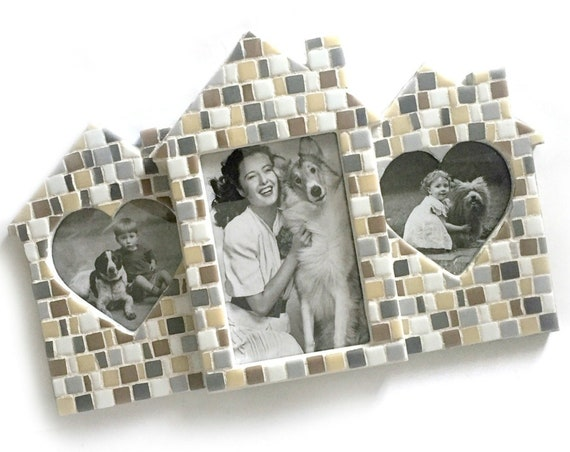 Triple Mosaic Frame, Three Opening Mosaic Frame, 3 Opening Frame, Mosaic Family Sized Frame, Neutral Colored Photo Frame, House Shaped Frame