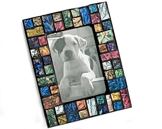 Black Gem Tone Mosaic Frame, Small Black Mosaic Frame, Shimmer Iridescent Black Green Purple Glass Mosaic Frame, Ceramic Tile Mosaic Frame