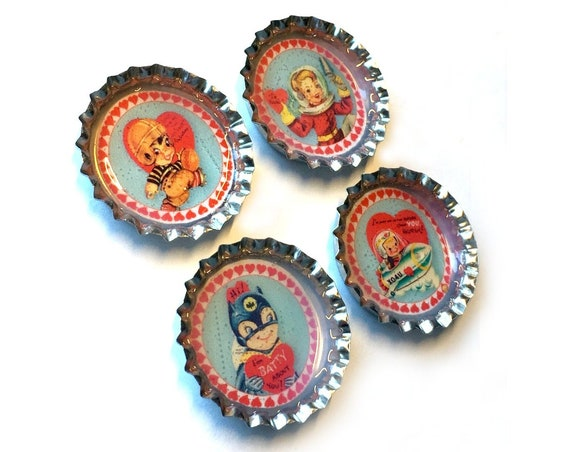 Kids Valentine Magnet Set, Bottle Cap Retro Valentine Magnet Set, Four Vintage Graphic Magnets, 4 Magnet Set, Childrens Valentine Magnet Set