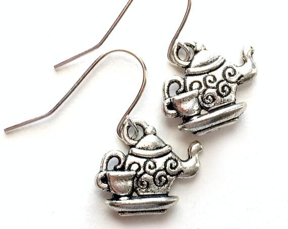 Teapot Earrings, Silvertone Teapot Teacup Earrings, Handmade Teapot Earrings, Dangling Pierced Teacup Earrings, Pierced Tea Pot Earrings