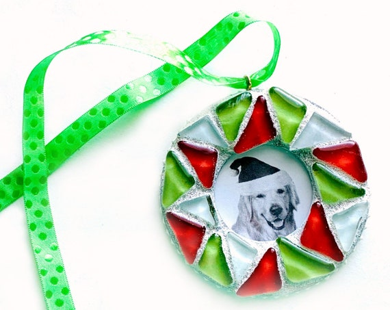 Red Green Mosaic Frame Ornament,  Christmas Mosaic Frame Ornament, Hanging Frame, Red and Green Mosaic Hanging Frame Ornament