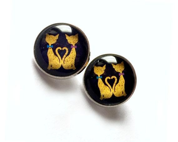 Cat Earrings, Black Cat Earrings,Cats in Love Pierced Earrings, Surgical Steel Pierced Lever Back or Post Cats Clip On Earrings, CAT Jewelry