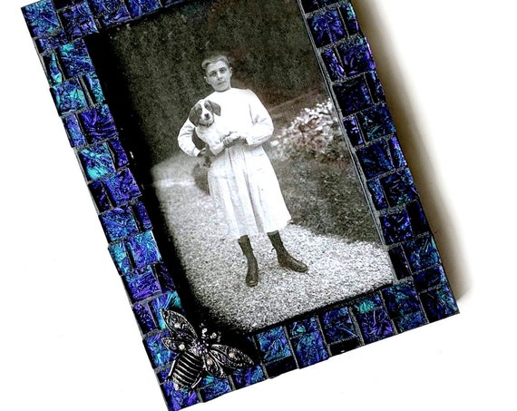 Purple Black Bee Picture Frame, Purple Iridescent Glass Mosaic Frame, Iridescent Van Gogh Glass Frame, 4 x 6 Photo Frame with Bee Bug