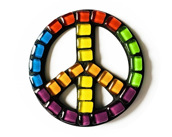 Mosaic PEACE Magnet, Rainbow Mosaic Peace Sign Magnet, Peace Sign Magnet, Handmade Mosaic Magnet, Red Blue Green Yellow Peace Sign Magnet
