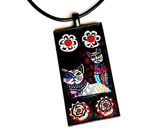 Mosaic CAT Pendant, Black Red Cat Mosaic Pendant, Graphic Cat and Venetian Glass Pendant, Handmade Cat Lover Pendant 18 in Faux Leather Cord