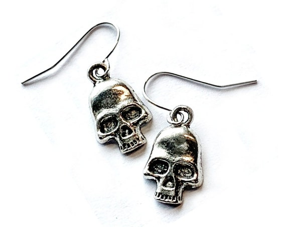 Skull Earrings, Silvertone Skull Earrings, Handmade SKULL Earrings, Dangling Pierced Skull Earrings, Pierced Skull Earrings, Silver Skulls