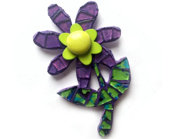 Mosaic Flower Magnet, Pink Purple Green Flower Magnet, Purple Mosaic Flower Magnet, Mixed Media Magnet, Flower Power Mosaic Magnet