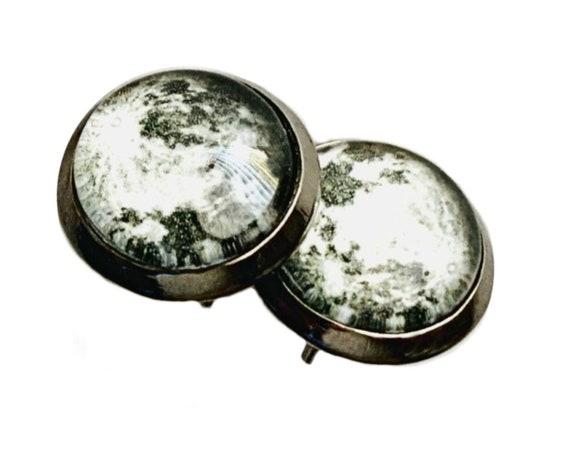 Full Moon Earrings, Moon Earrings, Full Moon Post Pierced Earrings, Gunmetal Crater Moon Earrings, Full Moon Jewelry