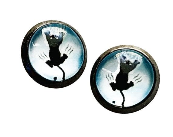 Cat Earrings, Cat Scratch Earrings, Blue Black Cat Post Pierced Earrings, Gunmetal Cat Scratching Earrings, Blue Cat Jewelry, Blue Cats