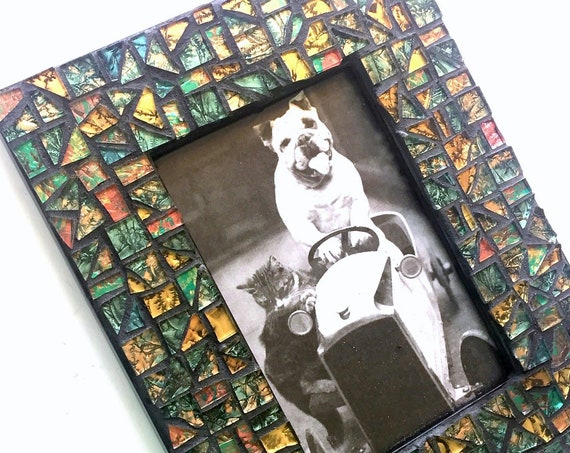Green Gold Bronze Black Mosaic Picture Frame, Iridescent Van Gogh Glass Mosaic Frame, Cut Glass Mosaic Frame, 4 x 6 Horizontal Picture Frame