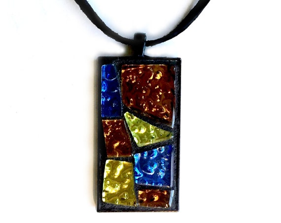 Mosaic Pendant, Blue Black Bronze Glitter Mosaic Pendant, Glass Mosaic Pendant on Suede Cord, Handmade Black Geometric Mosaic Pendant