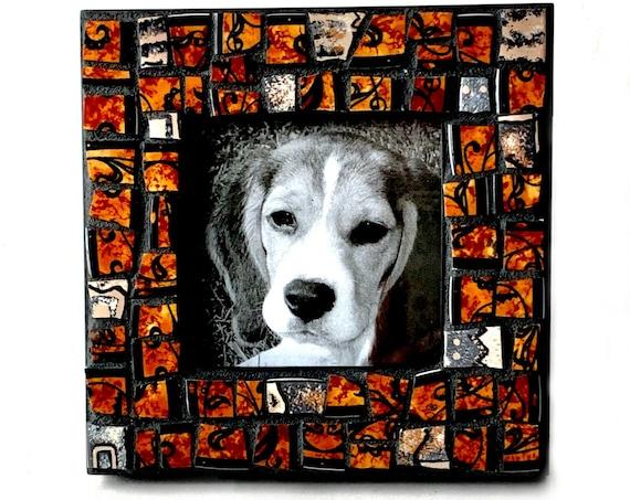 Brown Black Mosaic Frame, Handmade Mosaic Frame, Mosaic Broken China Black and Brown Print Frame, Square Mosaic Frame, 3x3 ImageFrame