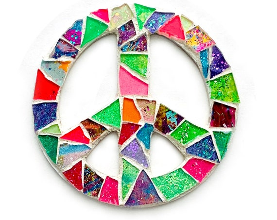 Mosaic PEACE Magnet, Mosaic Rainbow Peace Sign Magnet, Peace Sign Magnet, Handmade Mosaic Magnet, Neon Mosaic Peace Sign Magnet