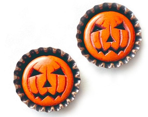 Jack O Lantern Bottle Top Magnet Set, Pumpkin Refrigerator Magnet Set, Jack O Lantern Bottle Cap Magnet Set, Halloween Pumpkin Magnet Set