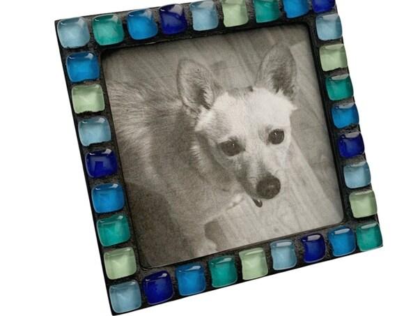 Black Blue Teal Magnetic Mosaic Frame, Black and Blue Mosaic Frame, Magnetic Mosaic Frame, Blue Glass Tile Mosaic Magnet Frame, Square Frame
