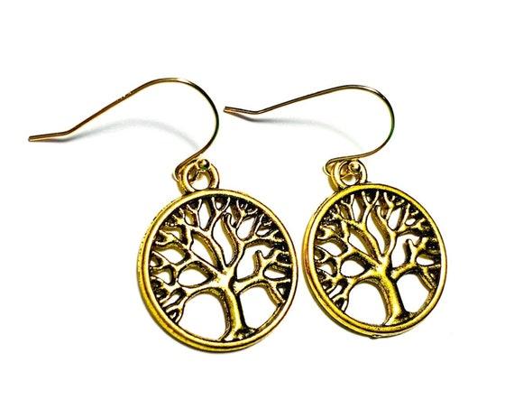 Bronze Brass Gold Plate Tree of Life Earrings, Pierced Bronze and Gold Plate Tree Earrings, Goldtone Handmade Tree of Life Earrings