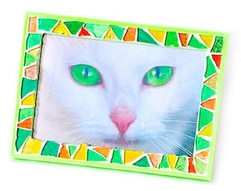 Citrus Colored Mosaic Glitter Frame, Lime Green Orange Yellow Glass Mosaic Frame, Sparkly Bright Mosaic Frame, 3.5x5 Neon Mosaic Frame