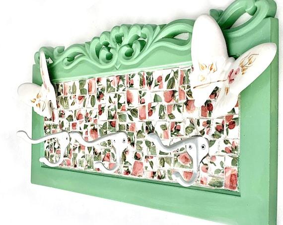 Mosaic Wall Hooks, Green Pink Rosebud Hooks, Green Pink White Rose Bud Butterfly Mosaic Hook Rack, Mosaic Hooks, Nursery Childs Room Hooks