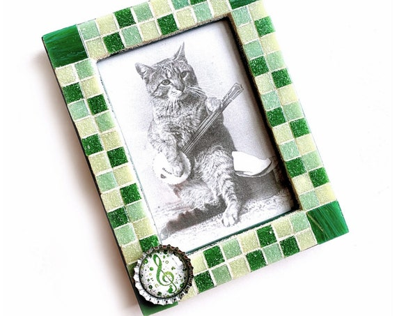 Green Music Mosaic Frame, Rectangle Green Glass Tile Mosaic Frame, Musical Green Frame, Glass Tile Mosaic Picture Frame, 3.5 x 5  Frame