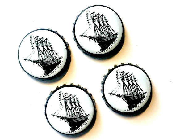 Beer Magnets, Bottle Cap Magnets, Shipyard Bottle Cap Magnets, Bar Magnet Set, Four Beer Bottle Magnets, Nautical Magnets, Microbrew Magnets