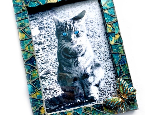 Teal Gold Gray Mosaic Butterfly Picture Frame, Teal Gold Metallic Glass Mosaic Frame with Butterfly, 5x7 Photo Frame, Teal Butterfly Frame