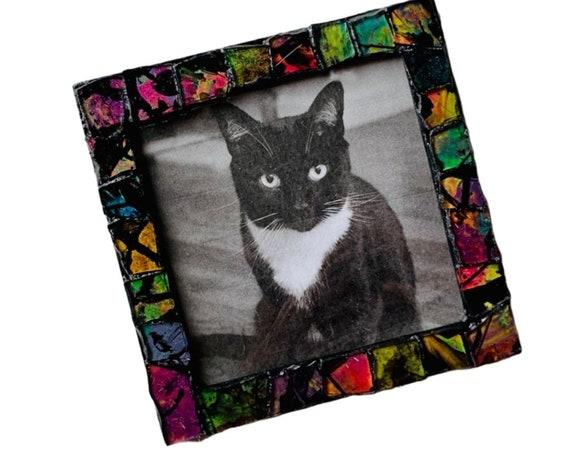 Black and Neon Magnetic Mosaic Frame, Black Neon Mosaic Frame, Magnetic Mosaic Frame, Black Orange Pink Green Mosaic Magnet Frame