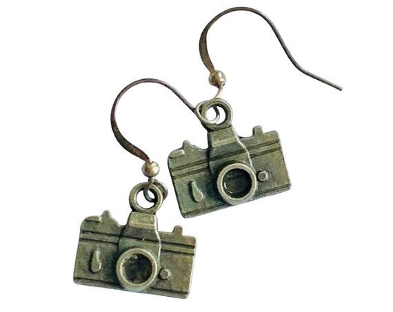 Bronze Camera Earrings, Pierced Antique Bronze Camera Earrings, Handmade Camera Earrings, Dangling Bronze Mini Camera Earrings