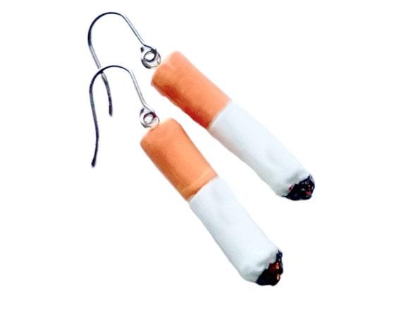 Cigarette Butt Earrings, Dangling Cigarette Earrings, Smoker Earrings, Pierced Smoking Cigarette Butt Earrings, Costume Cigarette Earrings
