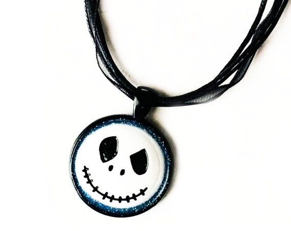 Jack Skellington Pendant Necklace, Jack Head Necklace with Black Organza Ribbon, Skeleton Pendant, Nightmare Before Christmas Pendant