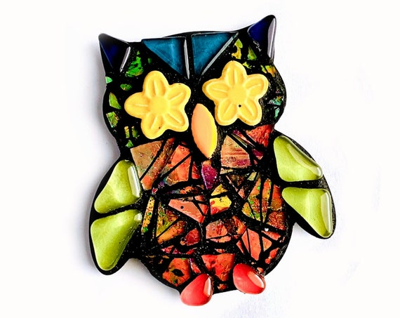 Mosaic OWL Art Magnet, Mosaic Owl Art, Mosaic Owl Magnet, Handmade Mosaic Art or Magnet, Cute Owl Magnet, Mosaic Owl Art Magnet