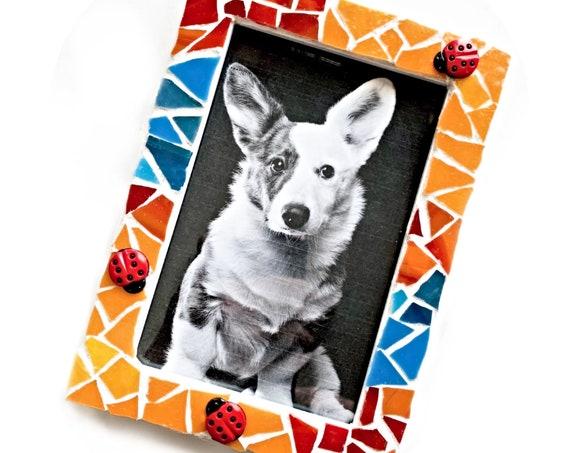 Ladybug Mosaic Frame, Blue Red Orange Ladybug Frame, 4x6 Mosaic Frame, Lady Bug Mosaic Frame, Cheerful Lady Bug Hand Cut Mosaic Glass Frame
