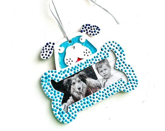 Hanging Frame Christmas Ornament, Dog Frame Ornament, Hanging Dog and Bone Frame, Blue Dog Ornament, Dog Lover Frame Ornament