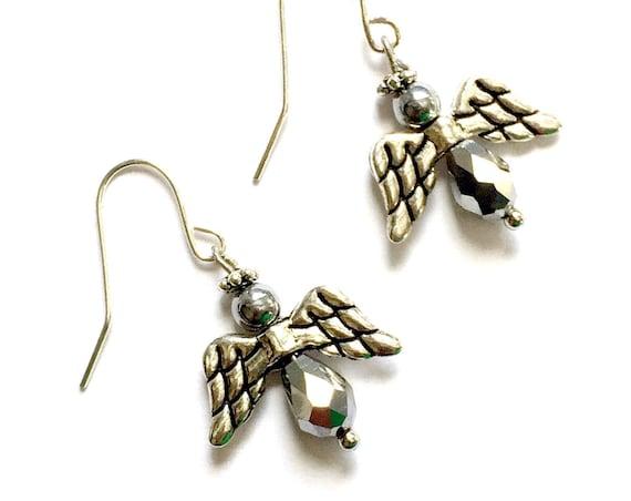 SALE Angel Earrings, Faceted Hermatite Angel Earrings, Silvertone Angel Earrings, Dangling Pierced Angel Earrings, Crystal Angel Earrings