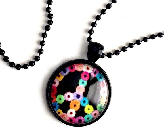 "PEACE Sign Necklace, Peace Pendant, 25mm Black Peace Pendant on 24"" Black Chain, Flower Peace Necklace, Hippie Peace Flower Pendant"