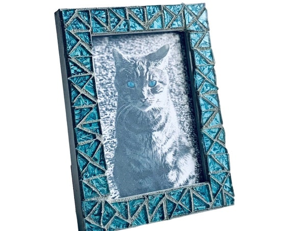 Teal Blue Mosaic Picture Frame, Blue Iridescent Glass Tile Mosaic Gray Frame, Iridescent Van Gogh Glass Frame, 3.5 x 5 Photo Frame