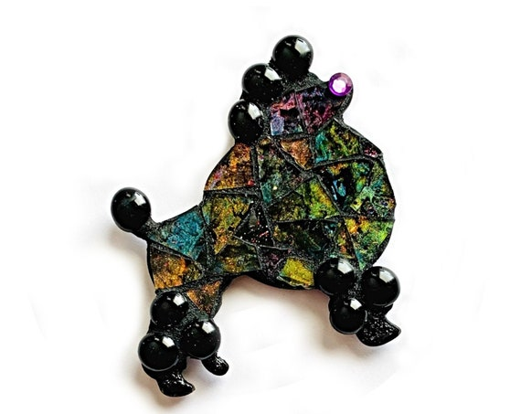 Black Poodle Mosaic Magnet, Mosaic Poodle, Black Poodle Mosaic Magnet with Purple Rhinestone Eye, Black Hand Painted Mosaic Glass Poodle