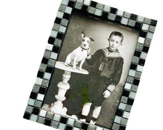 Black Gray White Mosaic Glass Tile Frame, Glass Tile Mosaic Frame, Black Frame with Mini Glass Tiles, Black and White 5x7 Mosaic Tile Frame