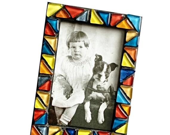 Black Mosaic Glass Tile Frame, Multi Colored Mosaic Tile Frame, 4x6 Mosaic Frame, Primary Colored Glass Tile Mosaic Frame, Mosaic Frame
