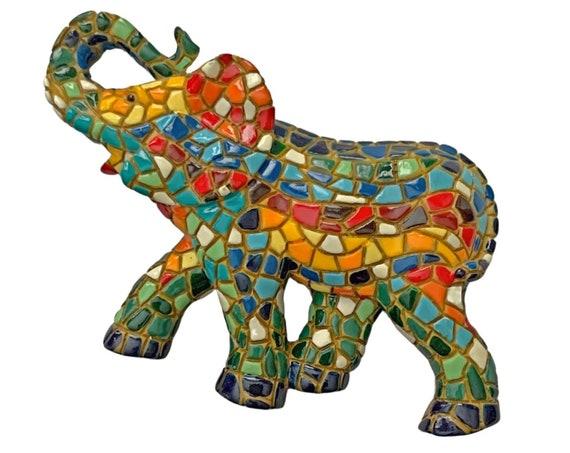 Mosaic Elephant Magnet, Barcino Elephant Magnet, Spanish Mosaic Elephant Magnet, Good Luck Elephant Mosaic Magnet, Barcino Mosaic Magnet