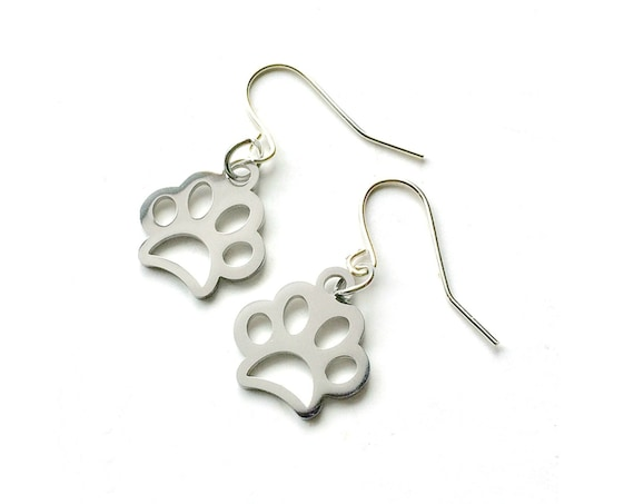 Pawprint Earrings, Silvertone Paw Print Earrings, Handmade Dog Paw Earrings, Dangling Pierced Dog Paw Print Earrings, Pierced Paw Earrings