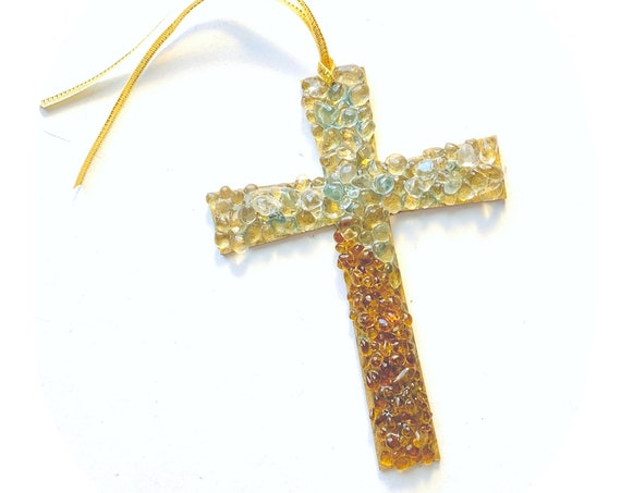 Golden Cross Ornament, Shiny Cross Christmas Ornament, Shimmery Gold Embellished Cross Ornament, Fancy Cross Ornament, Hanging Cross